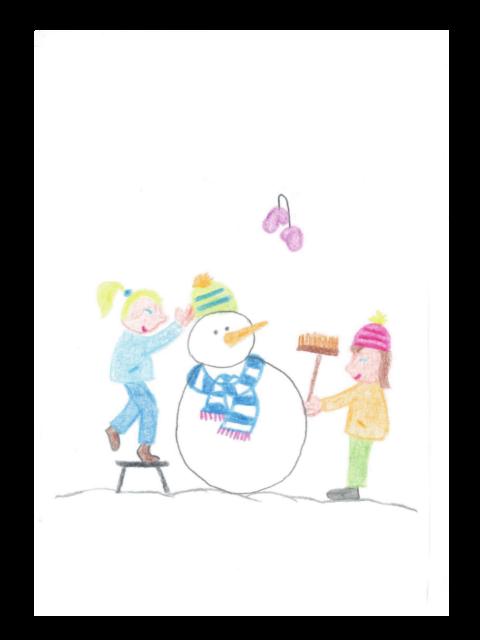 Kerstkaart Sneeuwpop